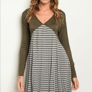 Olive and Grey Striped Dress